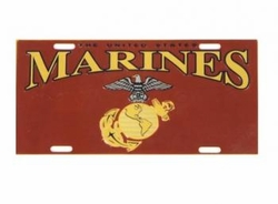 Wholesale Military Merchandise Patriotic Veterans Bulk Suppliers - MARINE METAL LICENSE PLATE