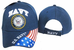 Navy Apparel Military Wholesale T Shirts Embroidered Logo Baseball Hats Caps Bulk Suppliers - CAP602G Navy Emblem Flag Cap