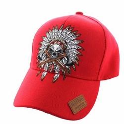 Wholesale Native Pride Indian Chief Velcro Cap (Solid Red) - VM699-05
