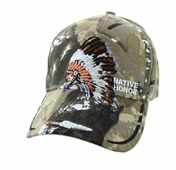 Wholesale Native Pride Indian Velcro Cap (Solid Hunting Camo) - VM075-02