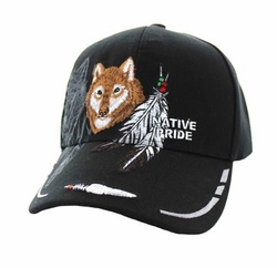 Wholesale Native Pride Wolf Feather Velcro Cap (Solid Black) - VM117-01