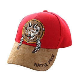 Wholesale Native Pride Wolf Velcro Cap (Red) - VM669-06