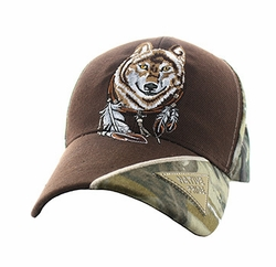 Wholesale Native Pride Wolf Velcro Cap (Solid Brown) - VM791-24