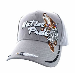 Wholesale Native Pride Wolf Velcro Cap (Solid Light Grey) - VM291-14