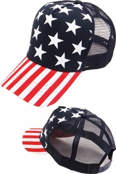 Wholesale Hats and Caps in Bulk - BP-221 US Flag Meshback