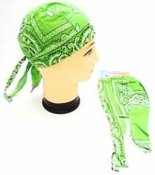 Wholesale Resale Products - Bulk Suppliers - BN178. Skull Cap-Bright Green Paisley