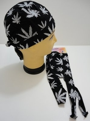 Wholesale Products Bulk Suppliers - BN191. Skull Cap-Black with White Marijuana Leaves