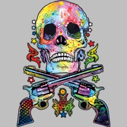 Wholesale Products - Skull Gun Neon T Shirts Graphic Funny Clothing in Bulk - 19052NBT2
