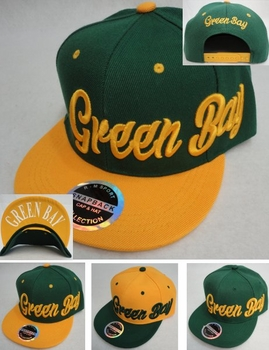 Wholesale Products New For Resale - HT1208. Snap Back Flat Bill Hat [Green Bay] Script
