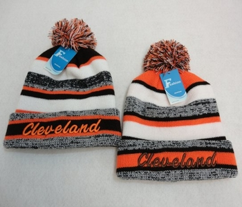 Wholesale Products New For Resale - WN808. Knitted Hat with PomPom [Embroidered CLEVELAND-B O] Stripes
