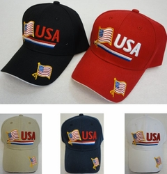 USA Hats Patriotic Wholesale - HT126. USA Flag Hat [RED WHITE BLUE Stripe] Flag on Bill