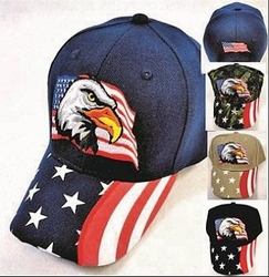 Patriotic Hats, Wholesale Flea Market, Wholesale Supplier Merchandise, Bulk - HT401. Eagle with Flag Hat [Printed Flag Bill]