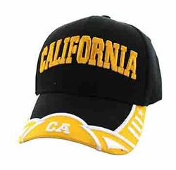 California Apparel T Shirts Wholesale Hats Caps Embroidered Baseball Logo Supplier Bulk - California State Velcro Cap (Black Gold) - VM421-10