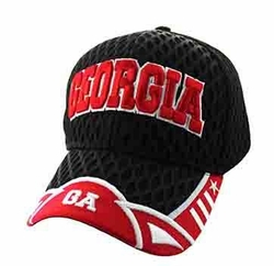 Georgia Apparel T Shirts Wholesale Hats Caps Embroidered Baseball Logo Supplier Bulk - Georgia State Big Mesh Velcro Cap (Black & Red) - VM421-144