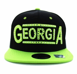 Wholesale Embroidered Logo Baseball Caps Hats - Georgia State Snapback (Black & Neon Lime) - SM331-14