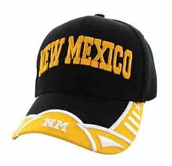 New Mexico State Logo Embroidered Embroidery Baseball Hats Caps Bulk Cheap - New Mexico State Velcro Cap (Black & Gold) - VM421-44
