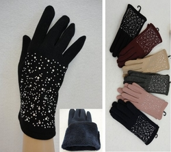 Wholesale Suppliers Wholesalers, Products - WN131. Ladies Plush-Lined Gloves [Rhinestones]