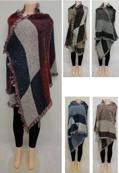 Wholesale Suppliers Wholesalers, Products - WN3437. Wrap-Around Woven Shawl [Patchwork]