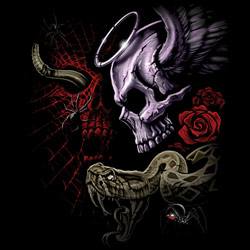Skull Wholesale T Shirts, Black Skull T Shirts, Liquid Blue T Shirts, Men's T Shirts, MSC T Shirts -20299D1-1