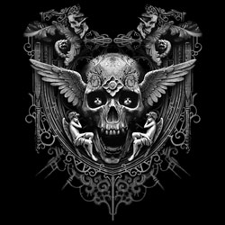 Skull Wholesale T Shirts, Black Skull T Shirts, Liquid Blue T Shirts, Men's T Shirts, MSC T Shirts -20303D1-1