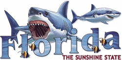 T Shirts Wholesale Distributor - Florida Sharks Resort Vacation T Shirts Clothing - 13522
