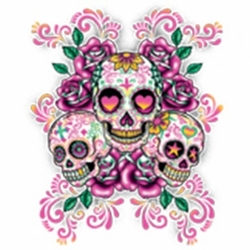 Wholesale T Shirts Bulk Suppliers Funny T Shirts - 3 Sugar Skulls Floral Background a2412a