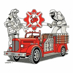 Wholesale Clothing Apparel - T Shirts, Bulk T Shirts - Fire Truck a10154c
