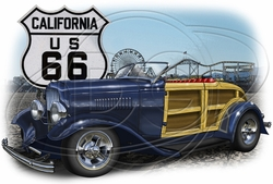 Wholesale Products - California Route 66 Car T-Shirt Supplier, Wholesale Supplier of Funny T-Shirts in Bulk - POS-457