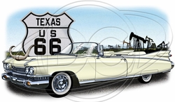 Texas Route 66 Car T-Shirt Supplier, Wholesale Supplier of Funny T-Shirts in Bulk - POS-458