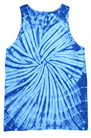 Wholesale Tie Dye Unisex Adult Tank Tops - SPIDER BABY BLUE