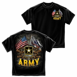 Wholesale US Military Clothing T Shirts Hats Caps - US Army Double Flag T-Shirt