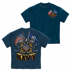 Wholesale US Military Clothing T Shirts Hats Caps - US Navy Double Flag T-Shirt