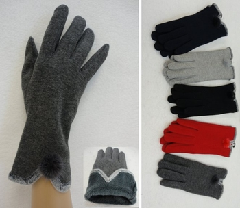 Wholesale, Winter Clothing, Women's Men's Winter Apparel - WN130. Ladies Plush-Lined Gloves [Fur PomPom]