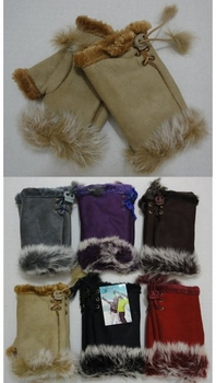 Wholesale Women's Girls Winter Gloves - WN588. Ladies Suede with Fur Fingerless Gloves [Solid Color]