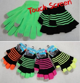 Wholesale, Winter Clothing, Women's Men's Winter Apparel - WN908. Double-Layer Neon Touch Screen Gloves [Stripes]