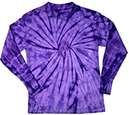 Wholesale Products - Men's Women's Adult Closeout Wholesale Gildan Spider Purple Long Sleeve Tie Dye T-Shirts in Bulk, Wholesale Fashion Clothing and Apparel