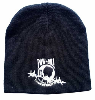Wholesale Bulk Mens Hats and Caps - WIN604B Pow-Mia Bobwire Beanie