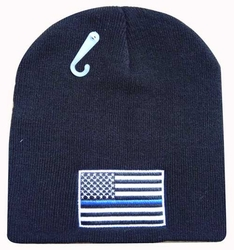 Wholesale Hats, Bulk Supplier Police Clothing Apparel Wholesale Beanie - WIN991A US Flag with Thin Blue Line