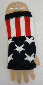 Wholesale Women's Girls Winter Gloves - WN878. Knitted Hand Warmers [Stars & Stripes]