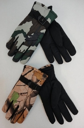 Military Winter Merchandise Bulk - WN681. Mens Camo Snow Gloves