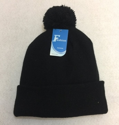 Online Get Cheap Winter Hats Men Women Children -WN1000-1. Double-Layer Knitted Hat with PomPom [Black]