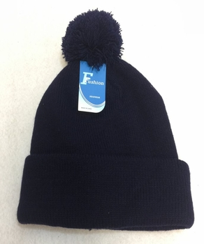 Online Get Cheap Winter Hats Men Women Children -WN1000-2. Double-Layer Knitted Hat with PomPom [Navy]