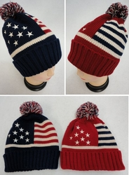Hats For Men, Winter Cheap Online - WN689. ..Toboggan Hat with Pompom [Americana]