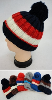 Online Get Cheap Winter Hats Men Women Children -WN784. Boys Fleece-Lined Knit Hat [TriColor]