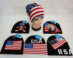 USA Patriotic Beanies, Wholesale Hats, Wholesale Supplier Bulk - WN846. .Knitted Beanie [USA Flag Assortment]