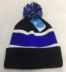 Online Get Cheap Winter Hats Men Women Children -WN909-11. Double-Layer Knitted Hat with PomPom [Black Royal Blue]
