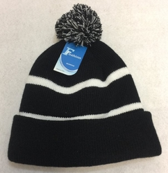 Online Get Cheap Winter Hats Men Women Children -WN909-12. Double-Layer Knitted Hat with PomPom [Black White]