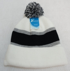 Online Get Cheap Winter Hats Men Women Children -WN909-13. Double-Layer Knitted Hat with PomPom [Black Light Gray White