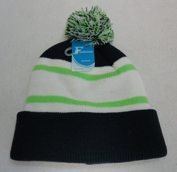 Online Get Cheap Winter Hats Men Women Children -WN909-15. Double-Layer Knitted Hat with PomPom [Navy Neon Green]