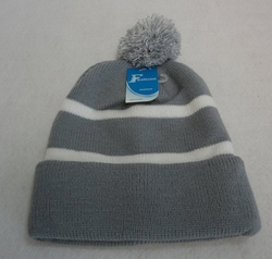 Online Get Cheap Winter Hats Men Women Children -WN909-16. Double-layer Knitted Hat with PomPom [Gray White]